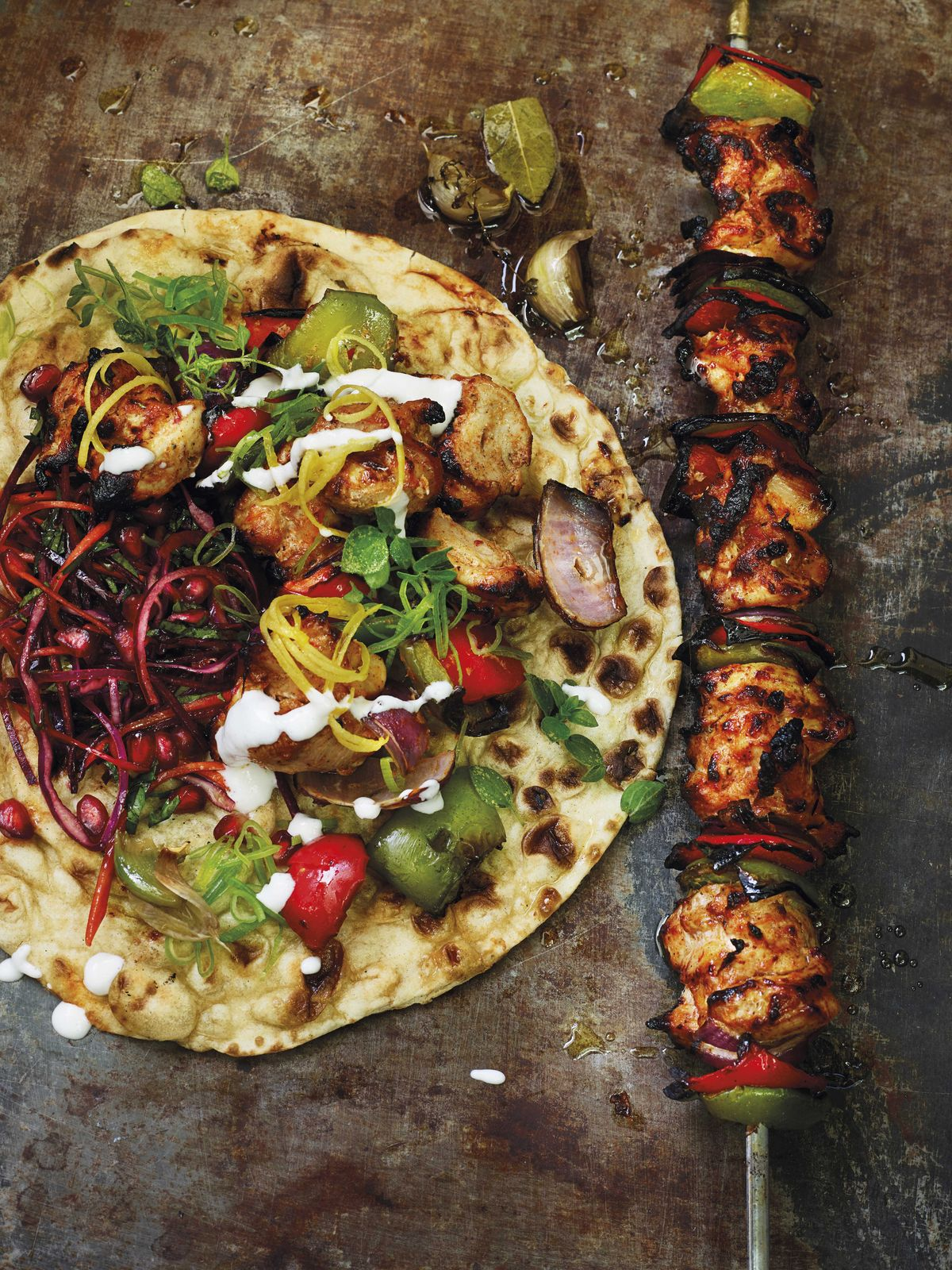 Buttermilk Chicken Shish Kebab with Quick Lemon Pickle and Oregano