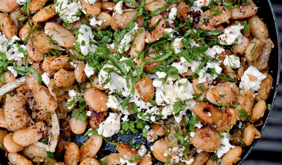Fried Butterbeans with Feta