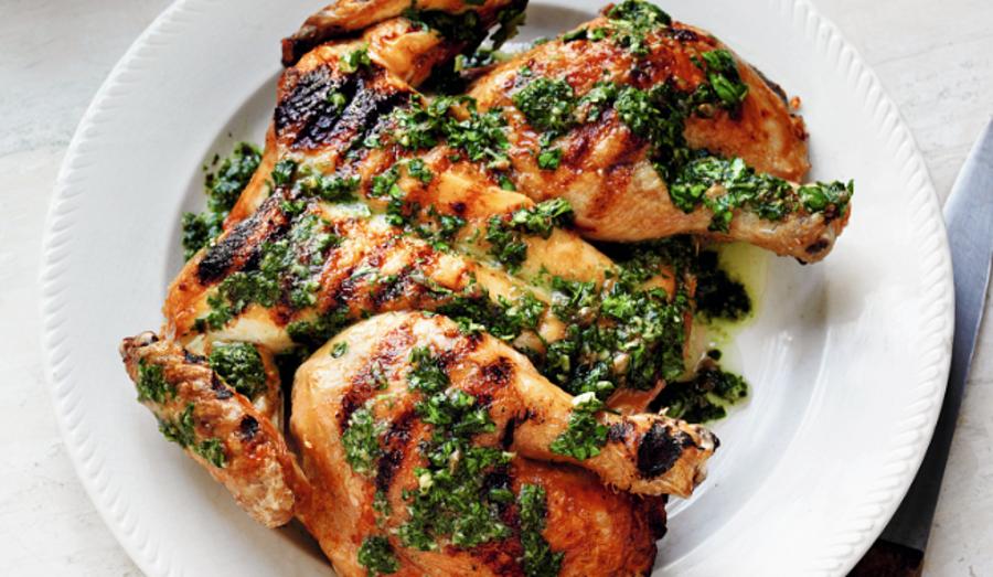 Grilled Spatchcocked Chicken with Green Sauce (Pollo alla Brace con Salsa Verde)