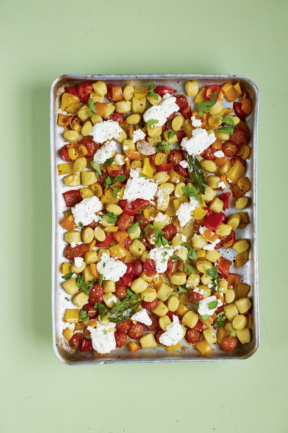 Crispy Gnocchi with Roasted Peppers, Chilli, Rosemary and Ricotta