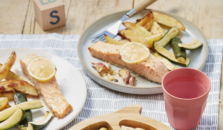 One-Pan Lemon Salmon with Courgette and Potato Wedges | Easy Recipe for Kids