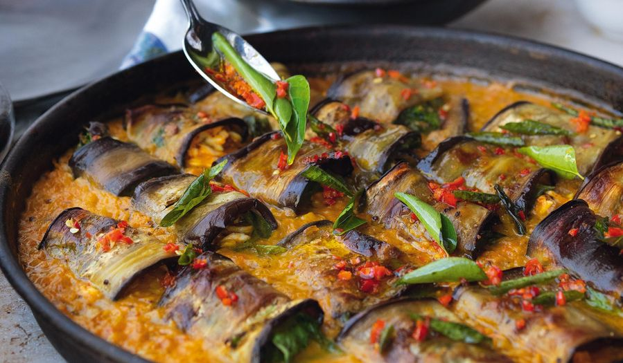 Ottolenghi Stuffed Aubergines in Curry & Coconut Dal | FLAVOUR