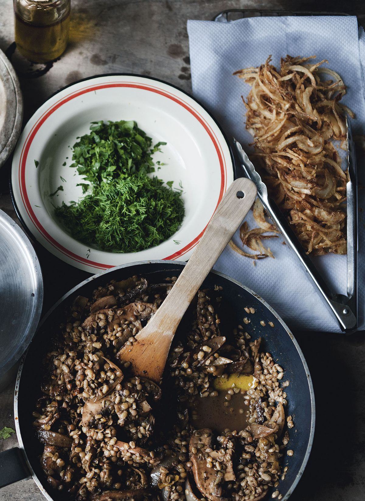 Yotam Ottolenghi's Pot Barley and Lentils with Mushrooms and Sweet Spices