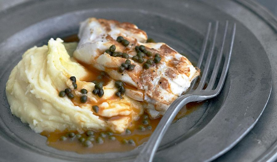 Pan-fried Pollock Fillet on a Purée of Potatoes with a Caper Sauce