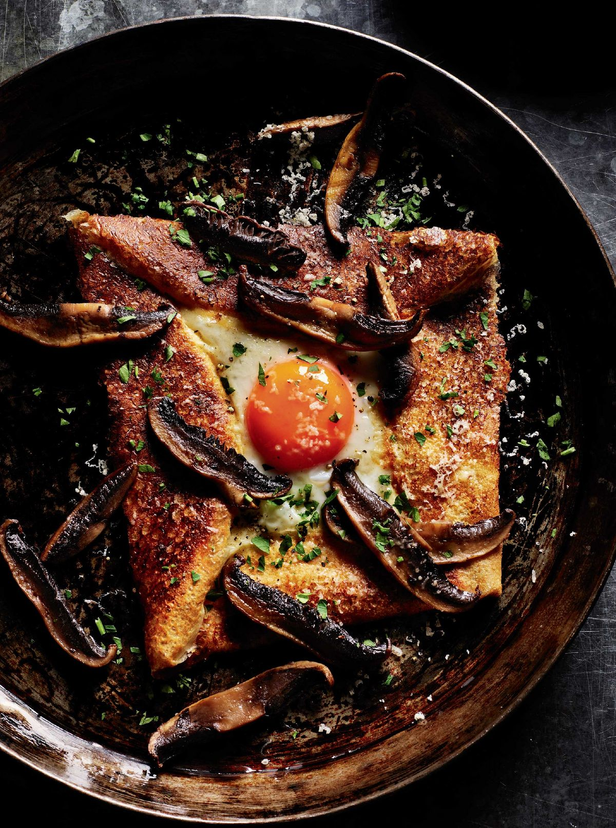 Rick Stein's Buckwheat Crepes with Eggs and Mushrooms