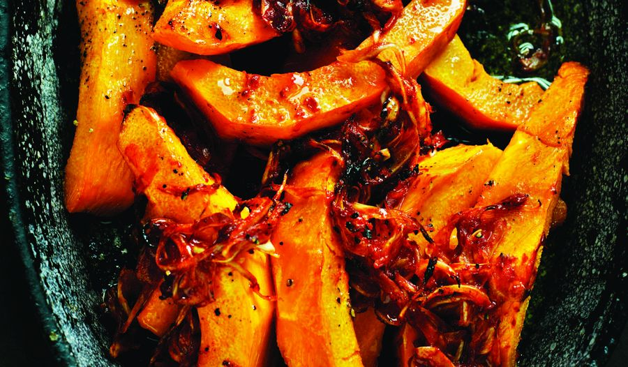 Rick Stein's Baked Pumpkin with Sun-Dried Tomato Paste and Crispy Onions