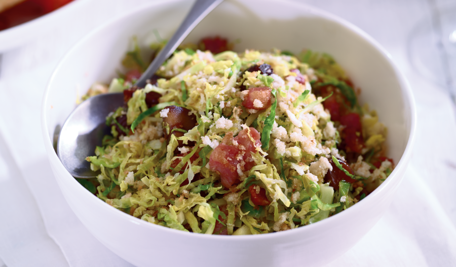 Shredded sprouts with chestnuts and bacon from Eat Well for Less