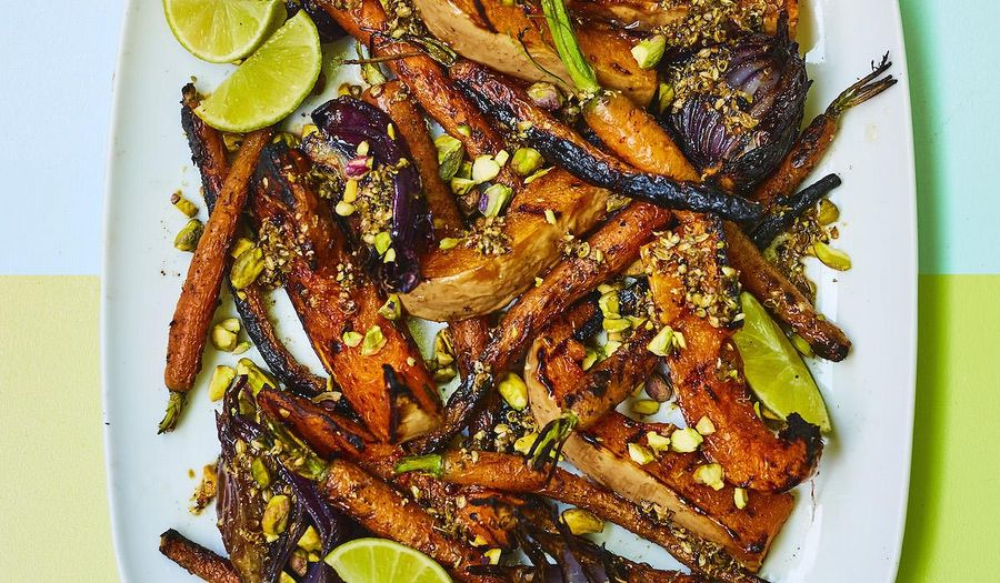 Squash with Charred Carrots | Easy Vegan Barbecue Recipe
