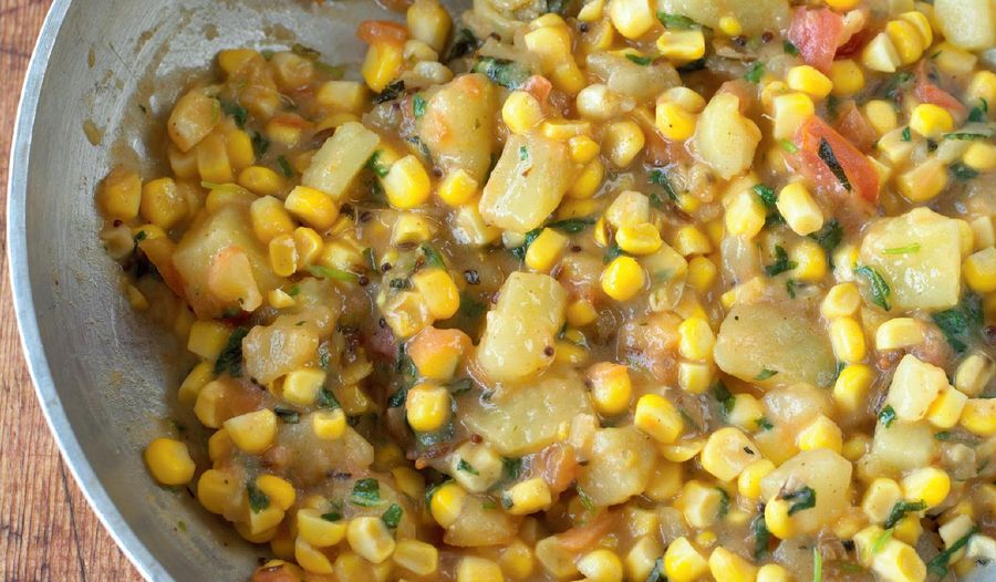 Sweetcorn and Potatoes with Mustard Seeds and Mint