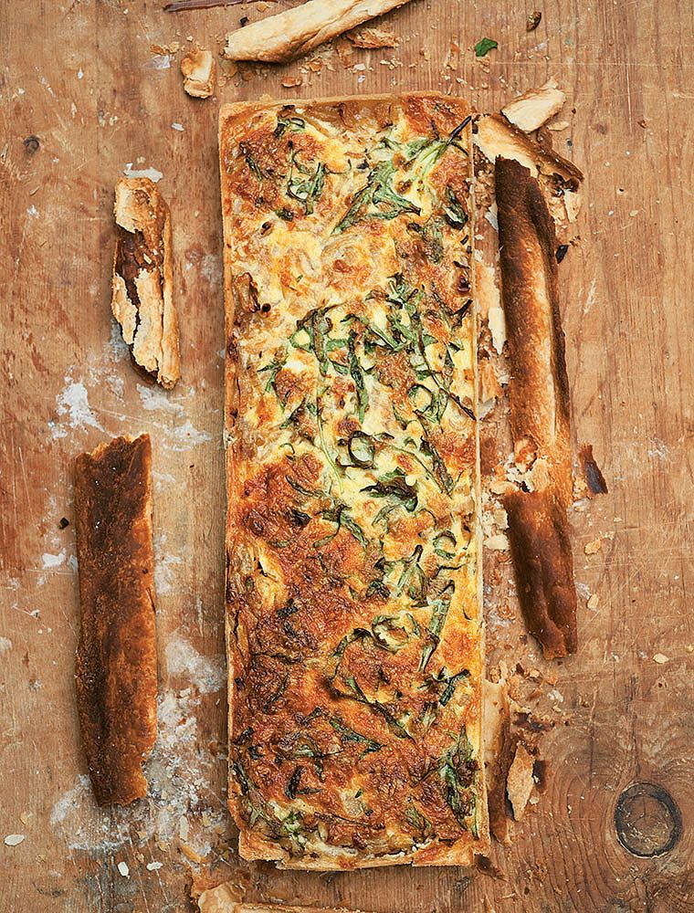 Onion Tart with Rocket and Cheddar
