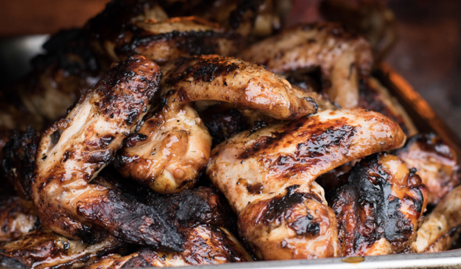 Barbecued Chicken Wings Marinated in sticky spicy soy sauce from Chicken and Rice