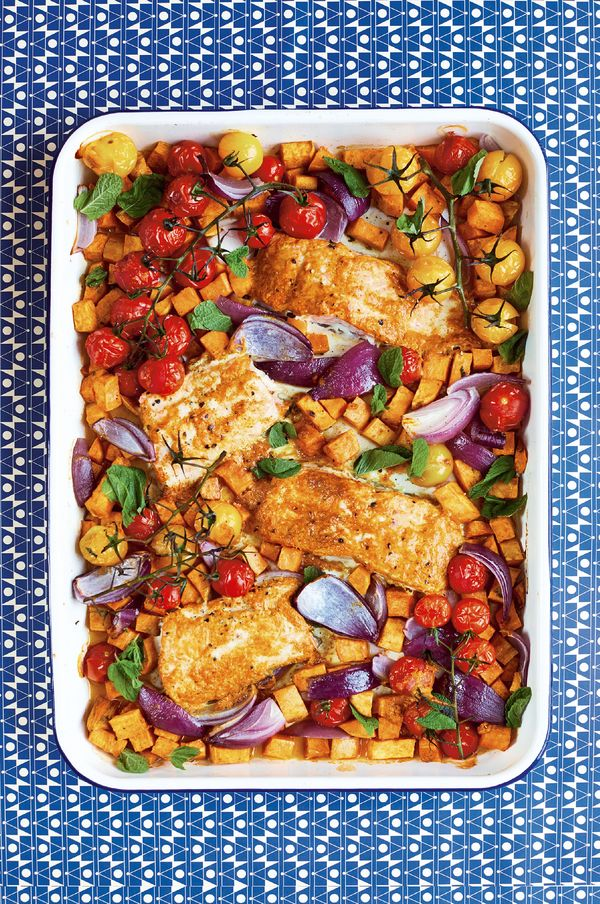 10 Quick & Healthy One Tray Oven Recipes from The Quick Roasting Tin - tandoori salmon