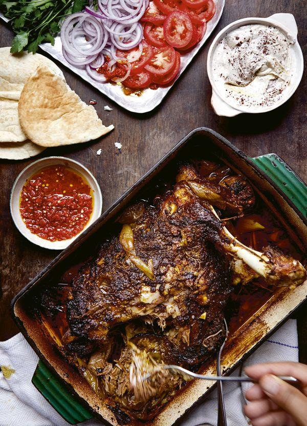 Palestinan Dinner Party Ideas   Pulled Lamb Shawarma