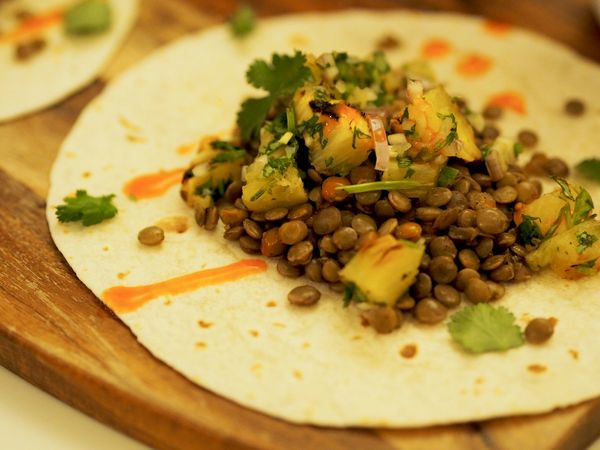 Spiced Lentil Tacos with Grilled Pineapple Salsa   Healthy Midweek Meal